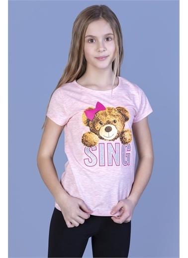 Toontoy Kids Toontoy Kız Çocuk Ayıcıklı Sıng Baskılı Tişört Renkli